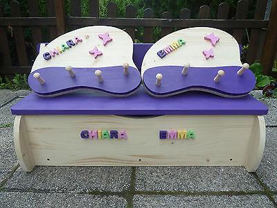 SET Kinderbank Kindersitzbank für Zwillinge Geschwister mit 2 Garderoben Holz