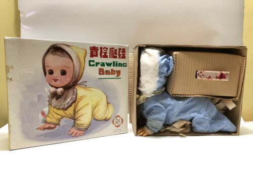 Doll Tin Toy Crawling Baby ME 790 Battery Operated New 1970s Vintage Red China