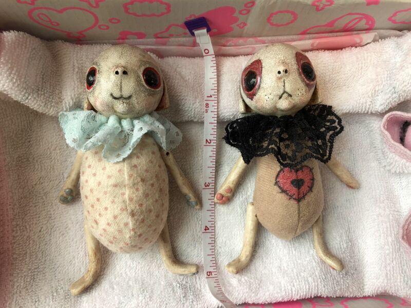 OddlySweetCo Handmade OOAK Pair Of Puppy/bunny Creature Dolls