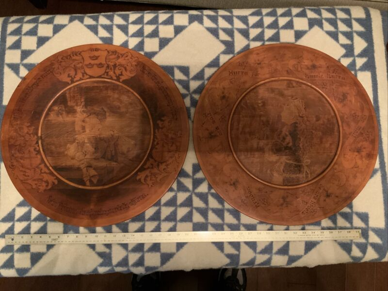 """Vintage, Set Of 2 Wooden Hand Carved Hanging Wall Plate Tray 21.5"""" Sweden Beer"""