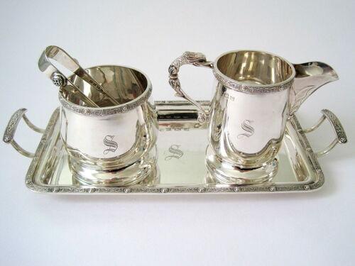 4pc Sterling Silver Tea / Coffee Set: Tray, Sugar Bowl, Sugar Tongs & Cream Jug