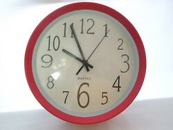 10 Round Quartz Wall Clock Red & White w/ Black Numbers & Hands Glass Face