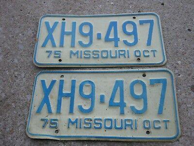 OCT 1975 ORIGINAL Vintage XH9 497 Missouri License Plate MO