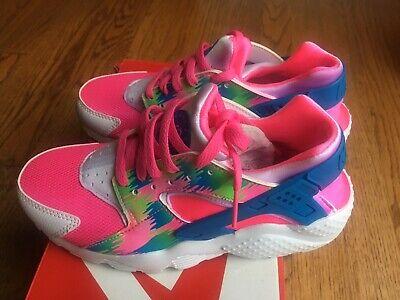 Nike Huarache Run Print GS SZ 4.5Y Green Pink White Blue 704946-601 Box Damage