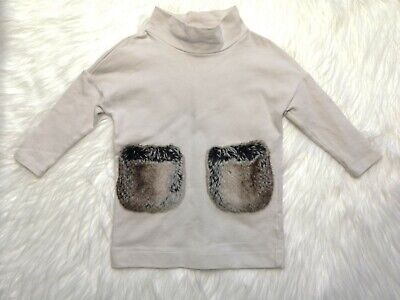 Il GUFO GIRLS BEIGE TUNIC DRESS TOP WITH FAUX FUR POCKETS SIZE 2 YEARS ITALY