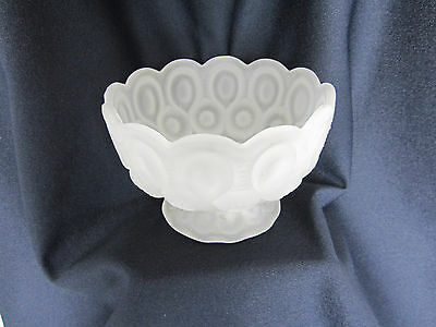 LE Smith Low Compote Glass Bowl Moon & Star Clear Frosted Satin Scalloped Rim
