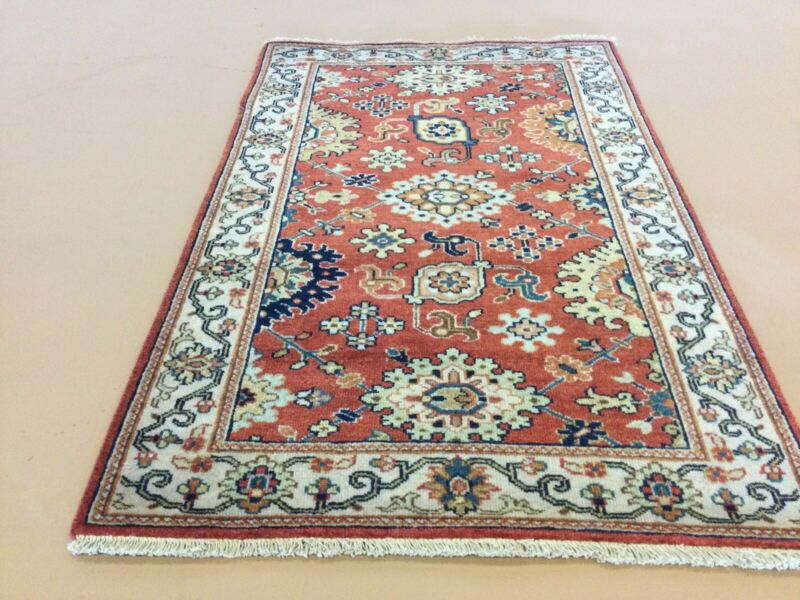 """2'.6"""" X 4'.0"""" Rust Beige Fine Geometric Hand Knotted Oriental Rug All-over Wool"""