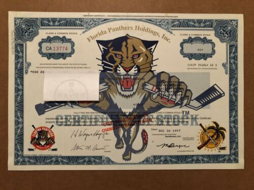 FLORIDA PANTHERS HOLDINGS ISSUED STOCK TEMPORARY CERTIFICATE 1997 VARIETY TYPE