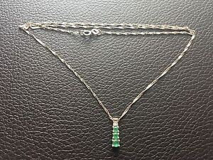 White gold, emerald necklace.