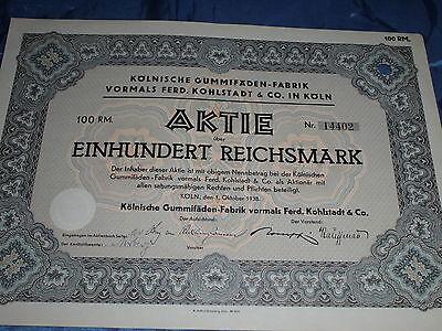 972 : dt. Aktie / Wertpapier , Gummifäden Fabrik Köln , 1. Oktober 1938 ,  14809