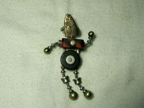 ...Rare Estate THOMAS MANN...Unusual Dancing Fish Head Human Figural Brooch...