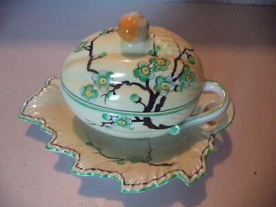 Vintage Japanese Porcelain Hand Painted Blossom Melon Condiment Server Plate!