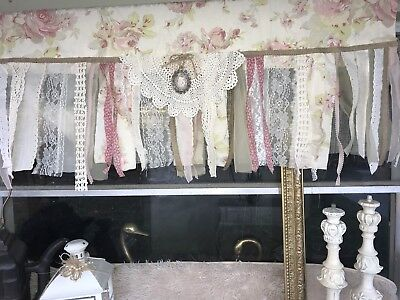 New French superior Twine -Shabby Rustic Chic BURLAP  Valance Curtain Floral