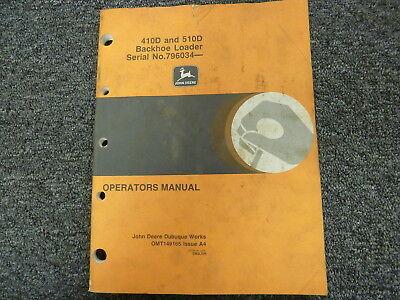 John Deere 410d 510d Backhoe Loader Owner Operator Maintenance Manual Omt149165