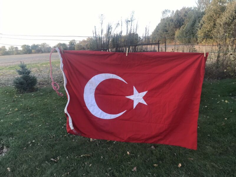 "Nautical Boat Turkey Large Vintage  Flag 34"" By 56"""