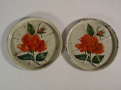 Vintage Tin Metal Tole Drink Coasters Set 2 Red Rose Round Chippy Distressed