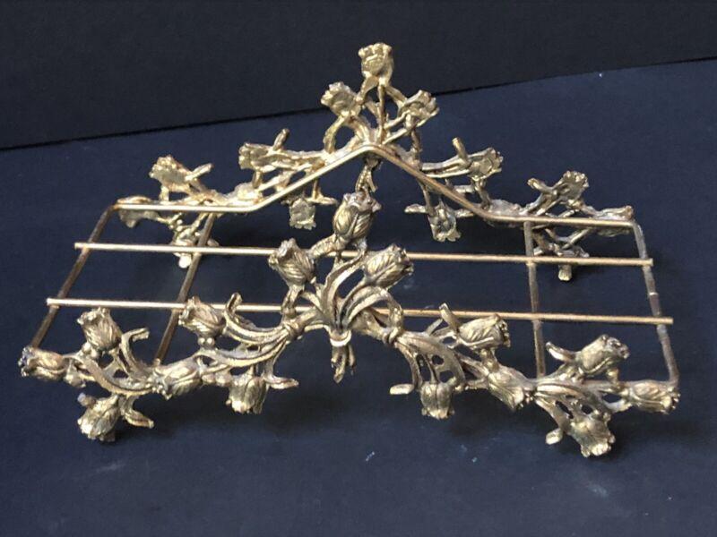 Vintage Gold Gilt TOWEL HOLDER *TULIPS Hollywood Regency Antique Metal Napkin