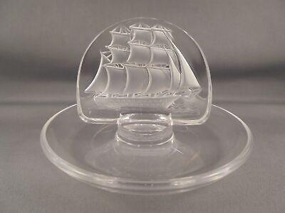 Lalique France Art Glass Ship Pin Tray Ring Dish Lalique Pin Tray