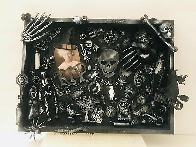 Mixed media Halloween shadowbox assembledge art one of a kind found - Halloween Mixed Media Art
