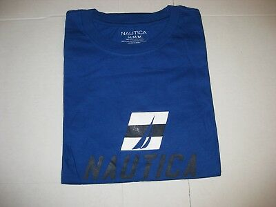 NWT NAUTICA Men's Short Sleeved Graphic Crew Neck T-Shirt Size M Blue Tee