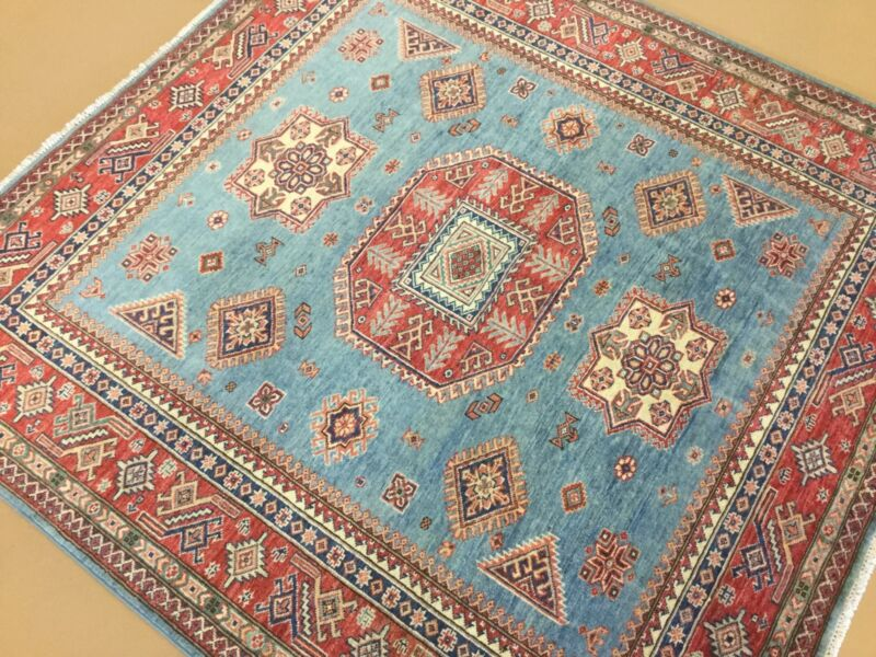 5.6 X 5.7 Square Light Blue Fine Super Kazak Persian Oriental Rug Hand Knotted