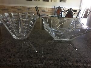 2 Crystal round and square crystal bowls -$20 each