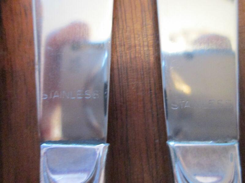SET 6 DINNER KNIVES! Vintage Wm ROGERS silverplate: MODERN SCROLL pattern: EXC!