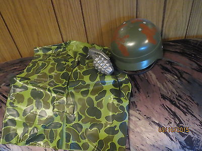 HALLOWEEN COSTUME Army Marines Soldier Camo VEST HELMET GERNADE Uniform FOR Boys