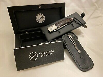 William Henry Pocket Knife Collectable B10 Scarlet Pine 096/500 Damascus Steel