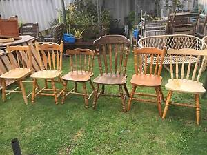 6 Assorted Timber Dining Chairs Beckenham Gosnells Area Preview