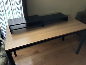 Computer Desk with computer monitor riser and shelves