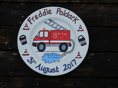 Baby birth christening personalised painted gift plate fire engine design Christening Gifts Birth Plate