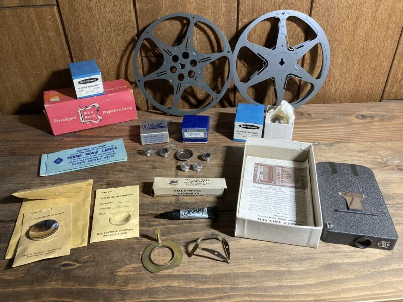 Vintage Bell & Howell Video Photography Lot Direct Focus Lens Mirror Reels Lamp