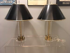 Mid century modern Brass and Lucite column table lamps