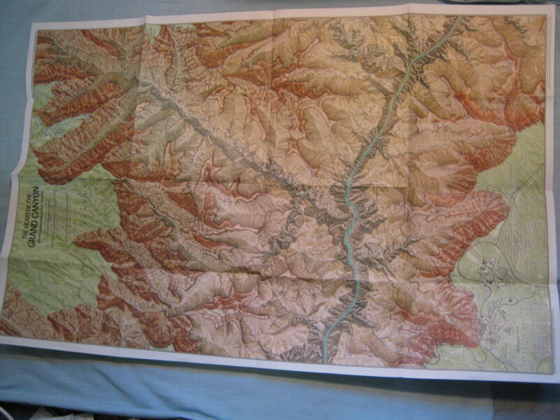 THE HEART OF THE GRAND CANYON ARIZONA TOPOGRAPHICAL MAP National Geographic 1978