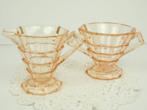 Vintage Pink Depression Indiana Glass Sugar Creamer Art Deco Look Tiered Footed