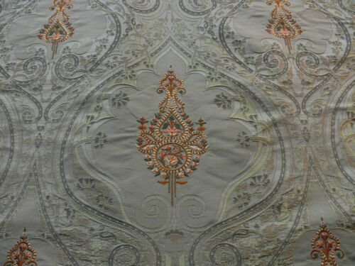 BY YARD SCALAMANDRE SILK DAMASK+EMBROIDERY DHARA GOLD MEDALLION MSRP$200++