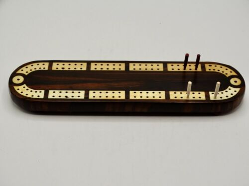 Antique English Rosewood Cribbage Board Game