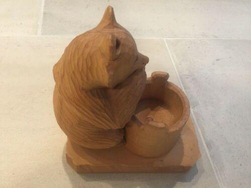 Vintage Russian  USSR Hand Carved Wood Bear With Barrel Folk Art
