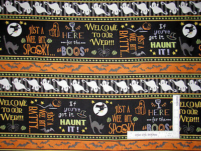Halloween Ghosts For Yard (Halloween Cat Ghost Bat Stripe Cotton Fabric Wilmington Here For The Boos)