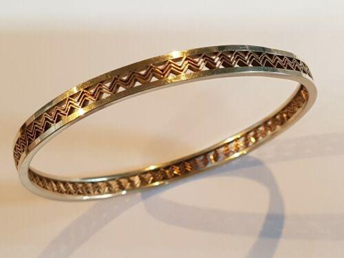 Art Deco 9ct Rose & White Gold  Bangle Bracelet.  Larger Size.   Ref:xafod%