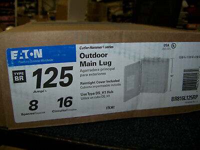 Eaton Outdoor Main Lug Type Br 125 Amp 8 Spaces 16 Circuits Br816l125rp New