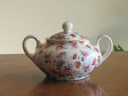 Erphila Dorset Cheery Chintz Sugar Bowl With Lid Vintage China Made In Germany