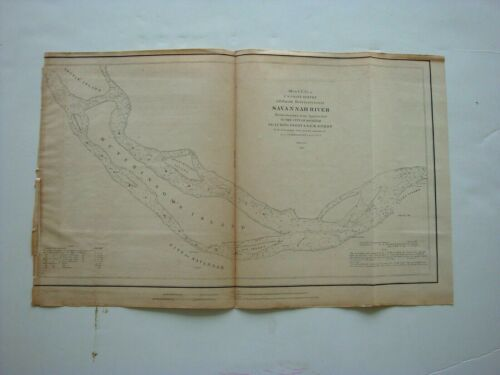 1851 Savannah River Hutchinson Island Georgia 11 x 18 Coastal Survey Map