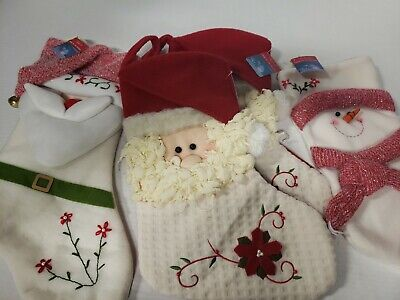 4 Santa and Snowman Christmas Stockings New with Tags Holiday Decor gifts
