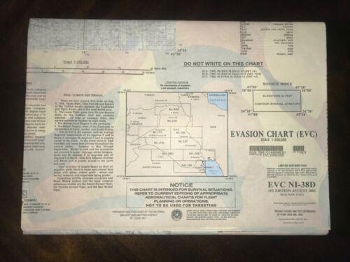MAP EVC NI-38D US MILITARY ESCAPE EVASION CHART  IRAQ IRAN SYRIA 2002 NEW