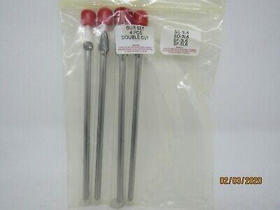 4pc Extra Long Double Cut Carbide Burr Set