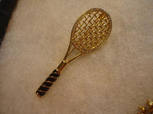 Vintage/nos rhinestone enamel Tennis Racket pin