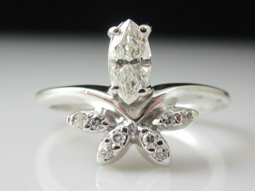 Diamond Ring 14K White Gold Marquise Engagement Cocktail Cluster UNIQUE STAR