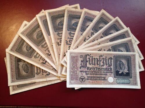 Lot of 14 CIRCULATED ORIGINAL BANKNOTES WW II NAZI GERMANY GERMAN 20 REICHSMARK